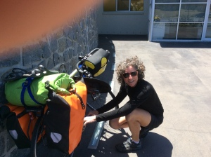 Fixing Bec's gear issues after coffee and chips at the Ironhouse Brewery...no beer involved!