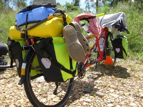 Ortlieb panniers on the front and rear, Ortlieb trunk bag and Ortlieb handlebar bag...we have them all!