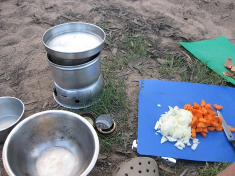 Our favourite..the good old Trangia and fresh veggies.
