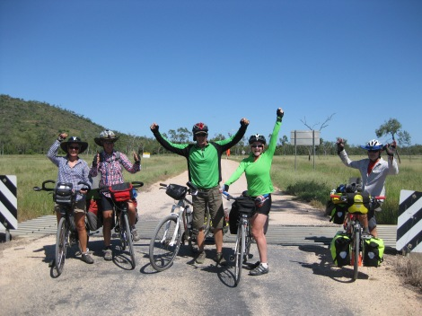 Celebrating at the end of the dirt road. It was great while it lasted but we were all happy to reach the bitumen again!