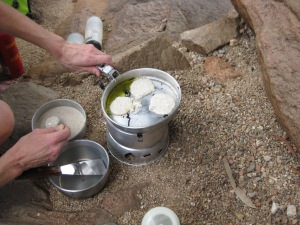 First experiment cooking pikelets in the Trangia. It worked well!