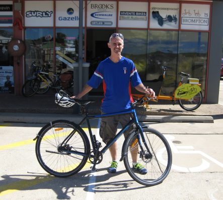 Mark with his much-loved belt-drive bike