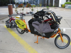 Cargo bike, Greenspeed and Brompton loaded up and ready to go