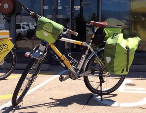 Green Ortlieb Back-Roller Plus panniers.