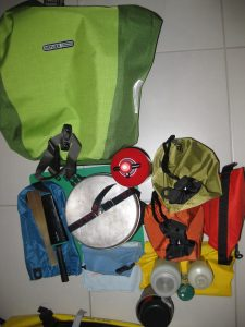 Other rear pannier with cooking gear, food