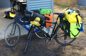Vivente touring bike loaded with Ortlieb panniers full of gear