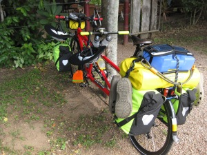 Cycle touring on our tandem bicycle - there is a limit to how much you can carry...I'm not sure we have found it yet!