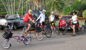 Bromptons and friends preparing to climb the Paluma Range