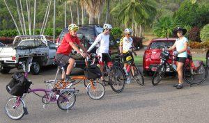 Bromptons and friends preparing to climb the Paluma Range