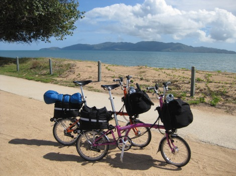 Bromptons ready for cycle touring