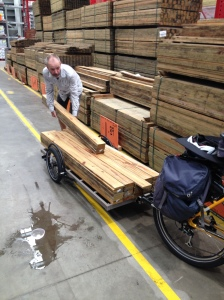 Surly Bill trailer picking up a load of timber.