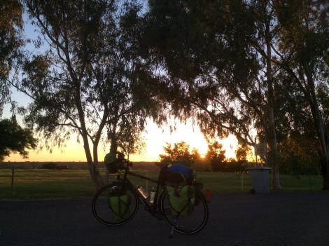 The Bicycle Pedlar - sunrise at Richmond caravan park